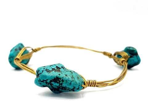 WIRE WRAPPED TURQUOISE STONE BRACELET