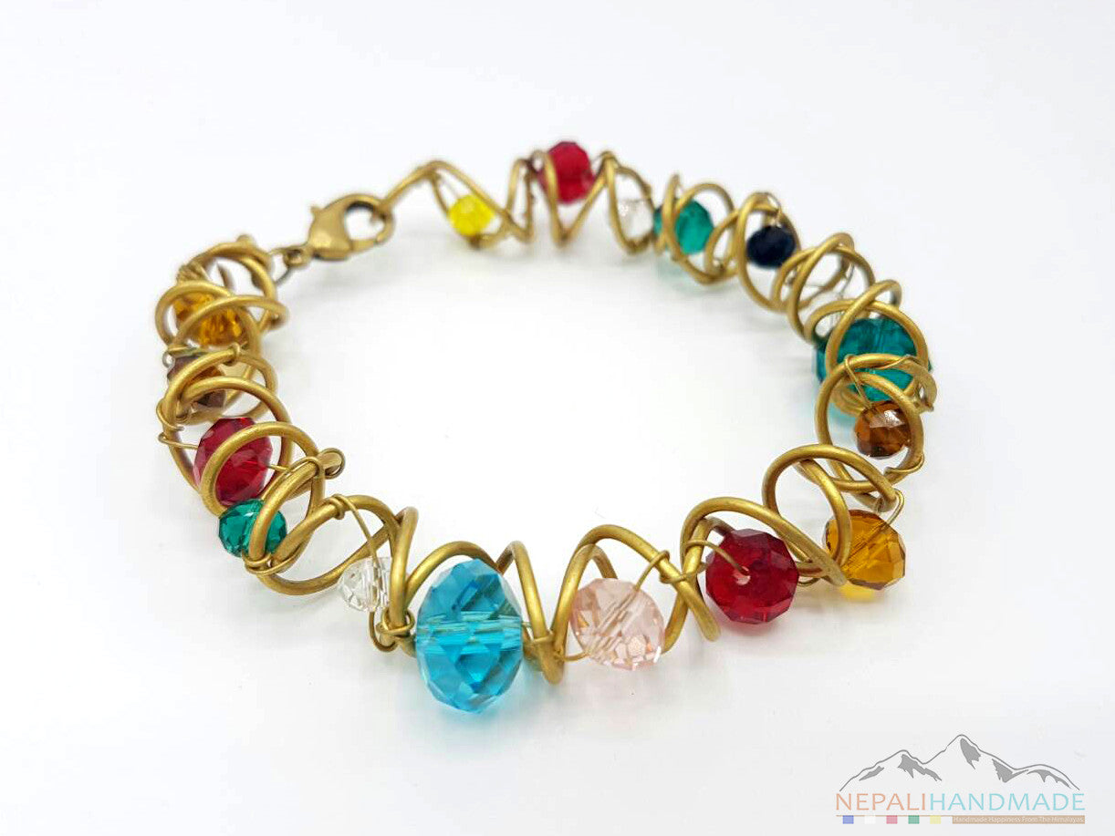 WIRE WRAPPED COLORFUL CRYSTALS BRACELET – NepaliHandmadeStore
