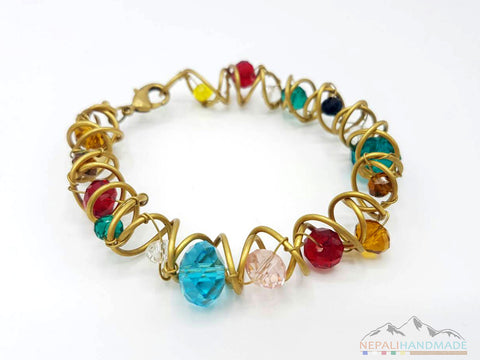 WIRE WRAPPED COLORFUL CRYSTALS BRACELET