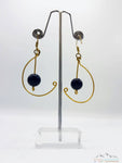 BLACK NIGHT STONE WIRE ART DANGLE EARRING