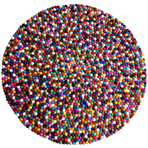 Round Multi Colored Felt Ball Rug