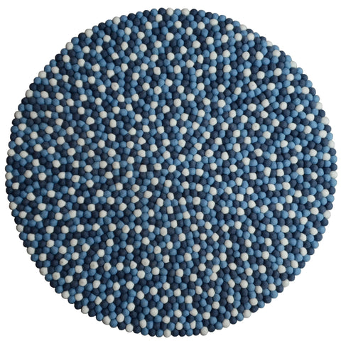 Round Blue Shades Felt Ball Rugs