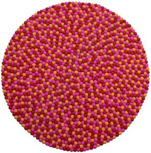 Round Red, Yellow and Pink Felt Ball Rug