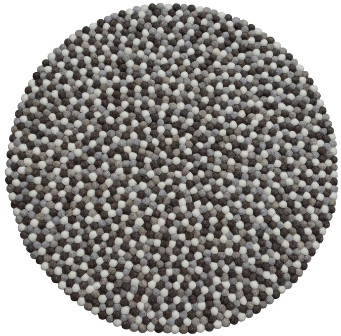 Round Natural Grey, Brown And White Felt Ball Rug