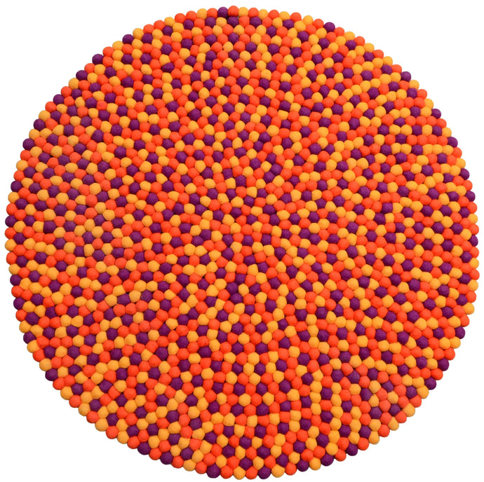 Round Orange, Yellow And Purple Felt Ball Rug