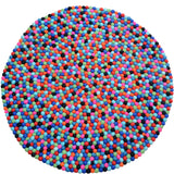 Round Bluish Multi-colored Felt Ball Rug
