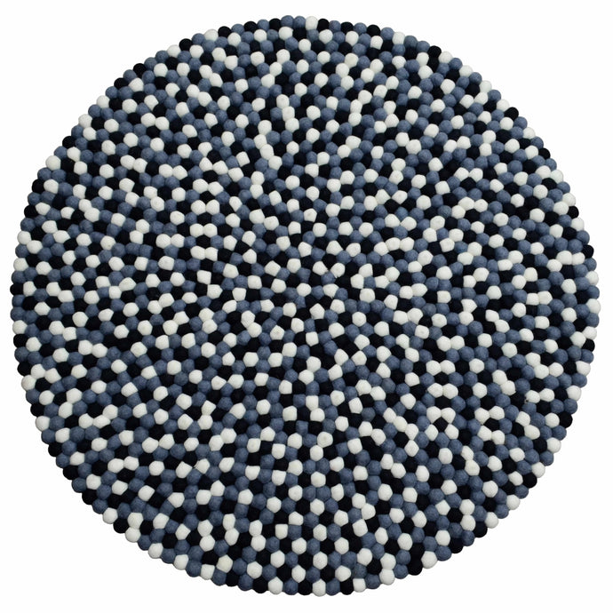 Round Cadet Blue, Black & White Felt Ball Rug