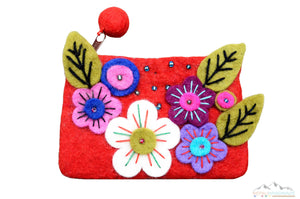 FIVE COLORFUL FLOWERS HAND PURSE / COIN PURSE
