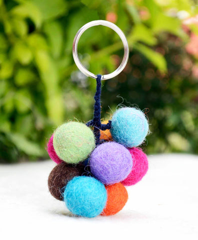 Colorful Felt Wool Balls Key Ring / Key Chain