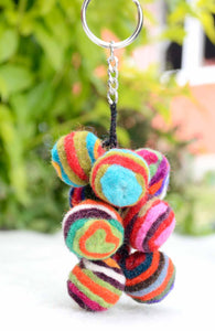 Multicolored Felt Wool Balls Key Ring / Key Chain