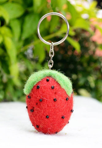 Sweet Strawberry Keyring