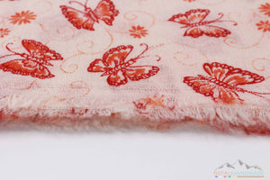 100% Cashmere Red And Orange Butterfly Shawl/Scarf