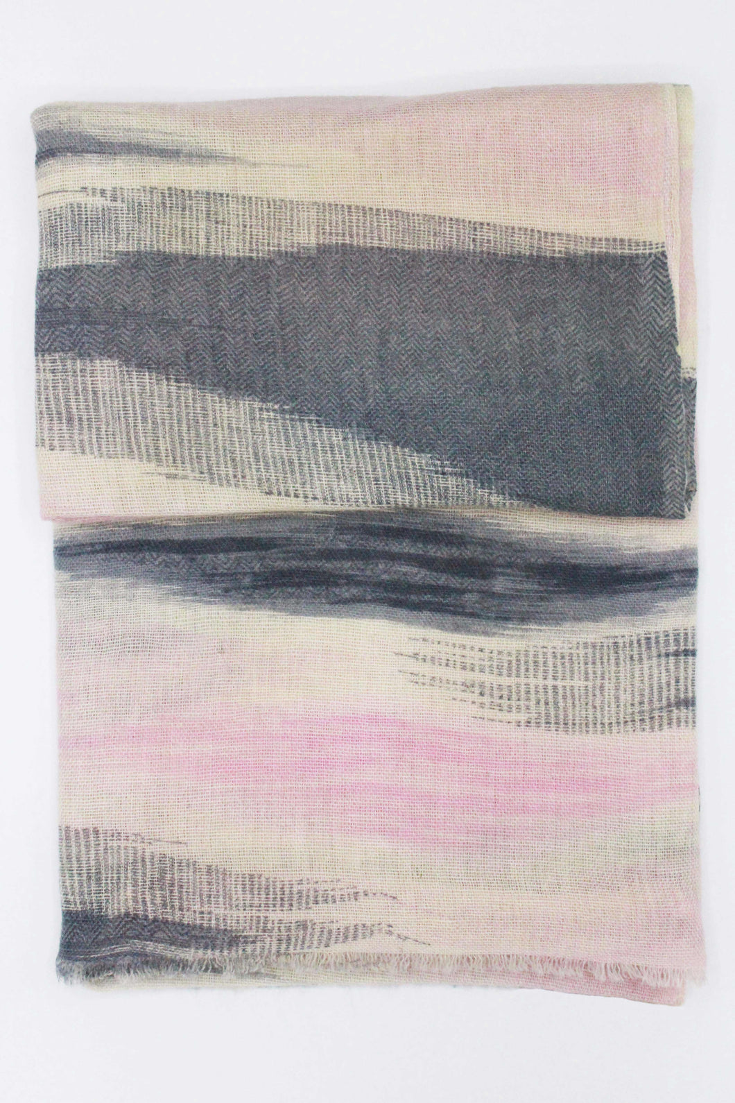 100% Cashmere Pink And Gray Waves Shawl/Scarf