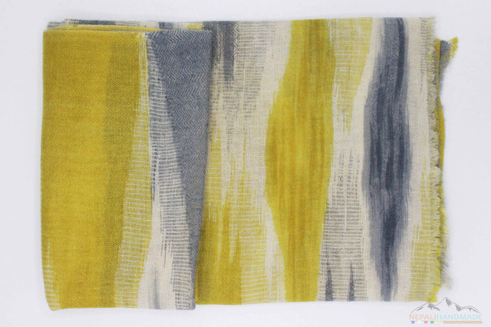100% Cashmere Yellow And Gray Waves Shawl/Scarf