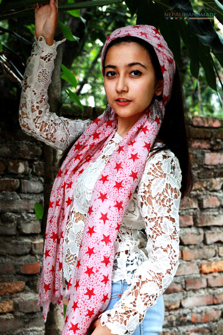 100% Cashmere Twinkly Red Stars Pashmina Shawl/Scarf