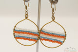 THREE COLORS BEADS DANGLE EARRING