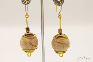 BRASS WIRE WRAPPED WOODEN BALLS DROP EARRING