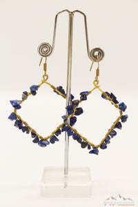 BLUE CHIPS EMBEDDED SQUARE DANGLE EARRING