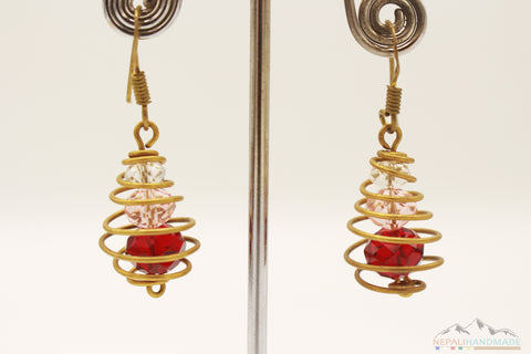 SPIRAL CAGED CRYSTALS DROP EARRING