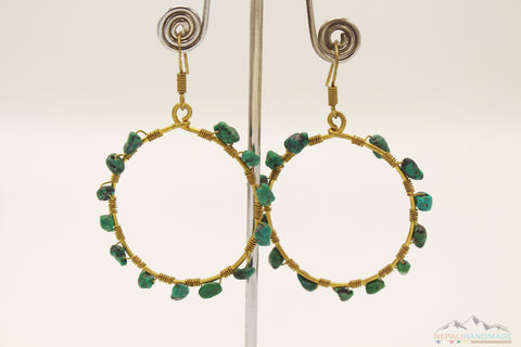 TURQUOISE EMBEDDED DANGLE EARRING