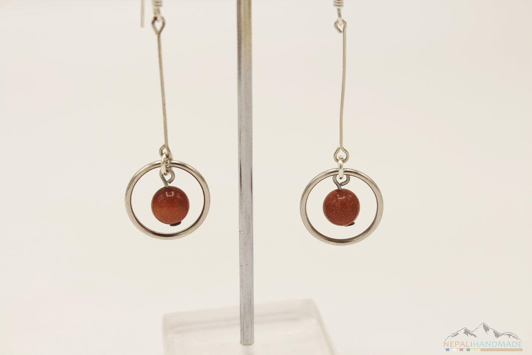 SPARKLING BROWN UNIVERSE INSIDE RING DANGLE DROP EARRING