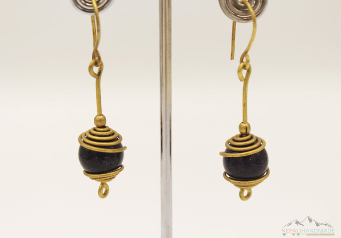 WIRE ART WITH SHINY BLACK STONE DROP EARRING