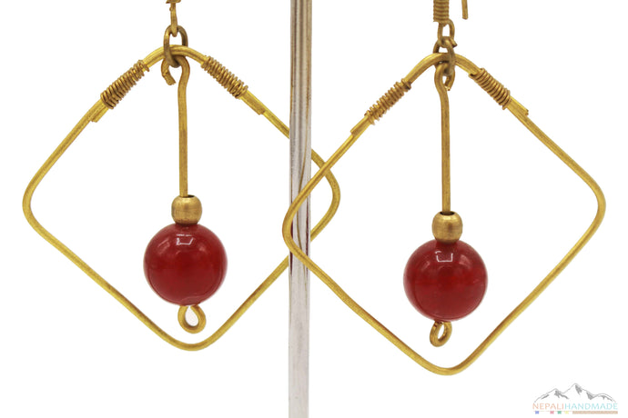 BRASS SQUARE BOUNDED BLOOD RED CRYSTAL DANGLE EARRING