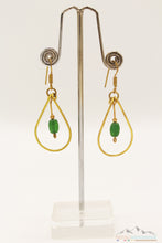 GREEN CRYSTAL DROPLET BRASS BOUNDED DANGLE EARRING