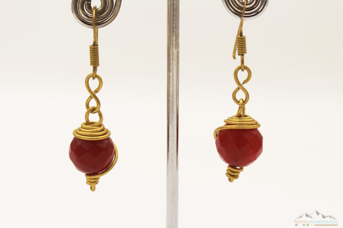BLOOD RED STONE WIRE ART DROP EARRING