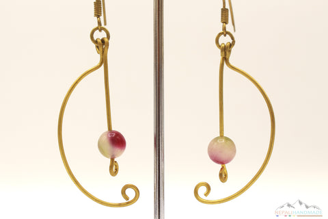 MULTI COLOR STONE SEMI CIRCLE EARRING