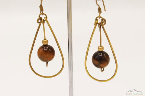 DROPLET WITH BROWN CRYSTAL EARRING