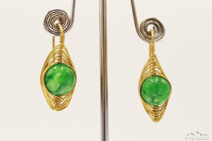 GREEN EARTH STONE OVAL WIRE ART DROP EARRING