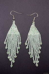 Honey Dew White Glass Beads Triangular Earring