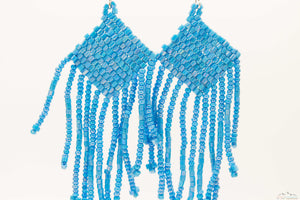 Sky-Blue Glass Beads Square Chandelier Earring