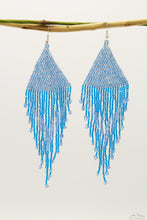 Light Blue Triangular Glass Beads Chandelier Earring - Long