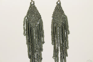Dark Gray Glass Beads Rhombus Chandelier Earring for Women