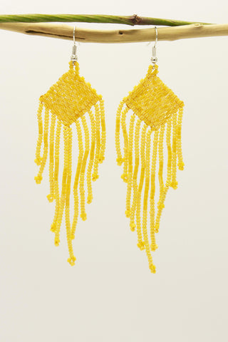 Yellow Glass Beads Square Chandelier Earring
