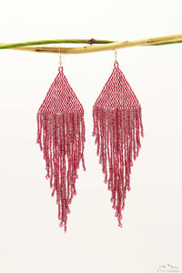 Shiny Pale Red Glass Beads Triangular Chandelier Earring - Long