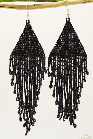 Shiny Black Glass Beads Triangular Chandelier Earring - Long