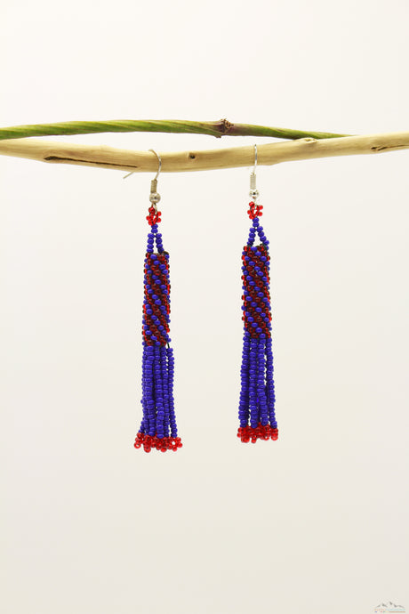 Dark Blue & Red Glass Beads Cylindrical Chandelier Earring
