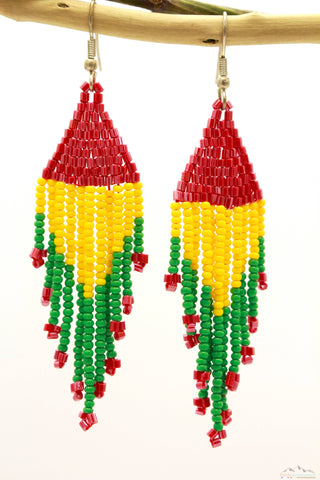 Rasta Colored Glass Beads Triangular Chandelier Earring