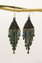 Greenish Polaroid Glass Beads Triangular Chandelier Earring