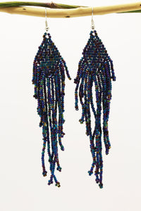 Bluish Polaroid Glass Beads Rhombus Chandelier Earring for Women