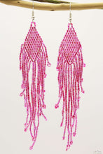 Light Pink & Red Glass Beads Small Rhombus Chandelier Earring