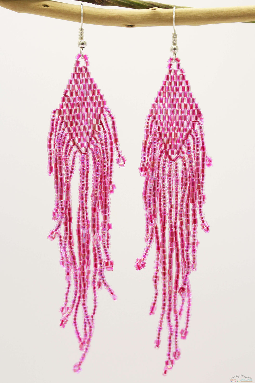 Hot Pink Glass Beads Rhombus Chandelier Earring for Women