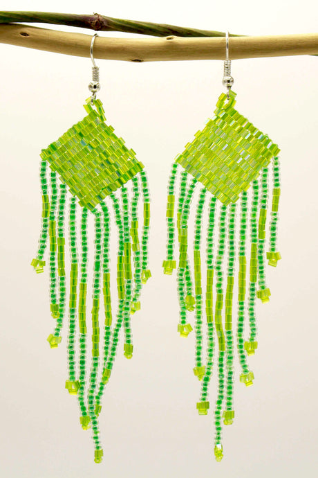 Bright Green Glass Beads Square Chandelier Earring