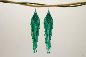 Sea green Glass Beads Rhombus Chandelier Earring for Women