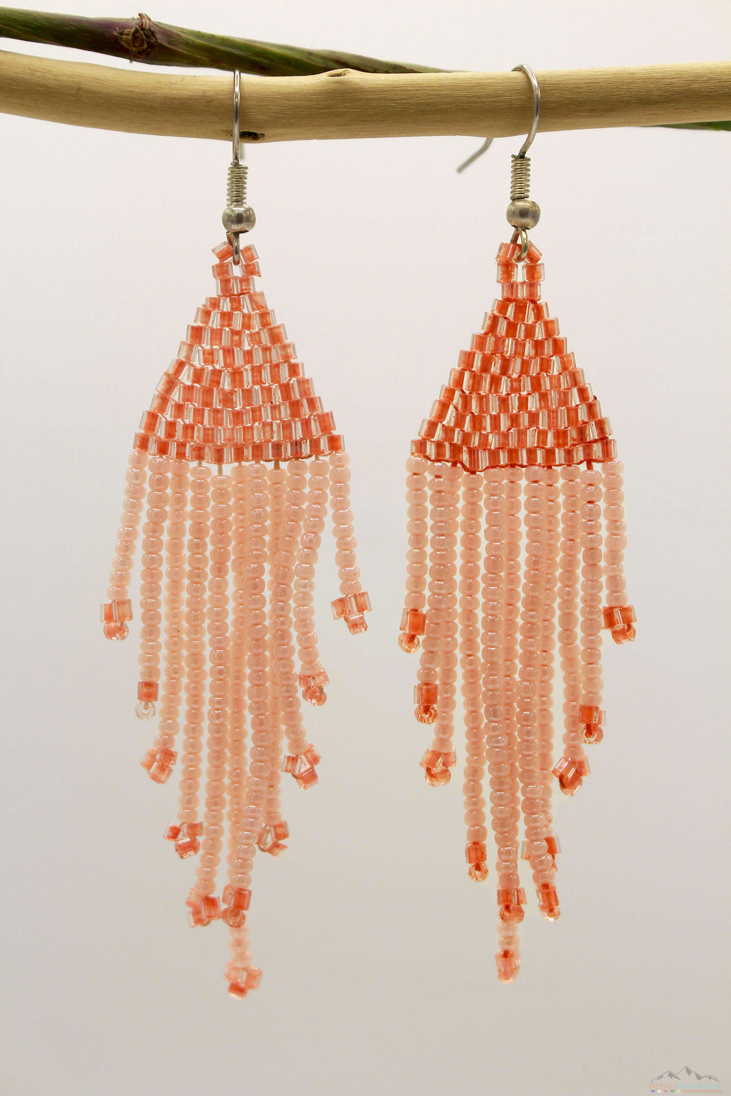Light Salmon Orange Glass Beads Triangular Chandelier Earring