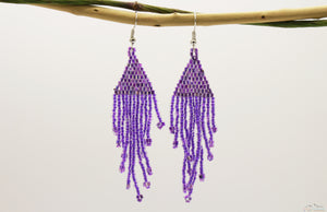 Medium Orchid Purple Glass Beads Triangular Chandelier Earring