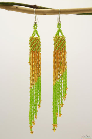 Pale Green & Golden Glass Beads Tube Chandelier Earring